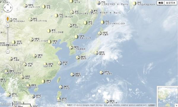 Google Earthで見る世界の天気マップ